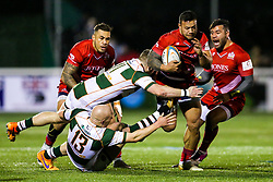 Alapati Leiua of Bristol Rugby is tackled by James Cordy Redden and Lewis Jones of Ealing Trailfinders - Rogan/JMP - 10/02/2018 - RUGBY UNION - Trailfinders Sports Ground - Ealing Trailfinders v Bristol Rugby - Greene King IPA Championship.