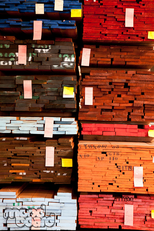 Full frame of stack of plywood in warehouse