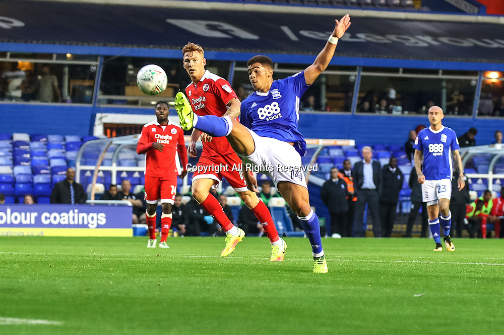 August 8th 2017, St Andrews, Birmingham, England; Carabao Cup First Round; Birmingham City versus Crawley Town; Che Adams of Birmingham City FC turns and tries to lob the keeper but the effort was  just wide