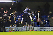 GOAL Simon Cox celebrates his last minute winner 2-1 during the EFL Sky Bet League 1 match between Southend United and Rochdale at Roots Hall, Southend, England on 14 January 2017. Photo by Daniel Youngs.