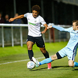 SEPTEMBER 12:  Top of the table Dover Athletic FChost eighth place Boreham Wood FC in Conference Premier at Crabble Stadium in Dover, England. The visitors, Boreham Wood  ran out winners a goal to nothing. Boreham Wood's Mark Ricketts tackles Dover's defender Josh Passley. (Photo by Matt Bristow/mattbristow.net)