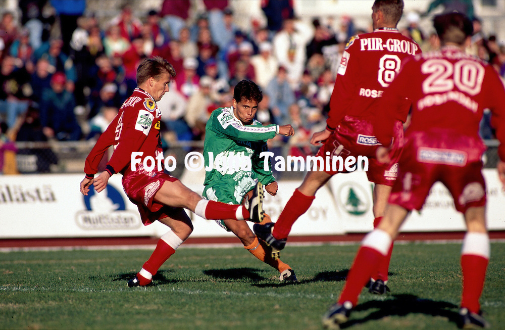 19.05.1996, Pori, Finland..Veikkausliiga / Finnish League, FC Jazz v Finnairin Palloilijat..Simo Valakari - FinnPa.©Juha Tamminen