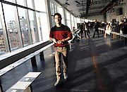 Designer Joseph Altuzarra walks on the runway before the Altuzarra Fall 2014 collection is presented during Fashion Week in New York, Saturday, Feb. 8, 2014. (AP Photo/Diane Bondareff)