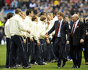 "Twickenham. Great Britain, Left, Prince Harry and RFU. President John OWEN ""Royal Party"" meet the England team before the Six Nations Rugby, England vs Wales, match played at the RFU Stadium, England on SAT. 06/02/2010  [Mandatory Credit. Peter Spurrier/Intersport Images]"