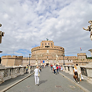 The famous jail Castel Sant' Angelo from across a bridge over the Tiber in Rome, Italy.