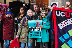 © Licensed to London News Pictures. 27/11/2019. London, UK. Members of the University and Colleges Union (UCU) take part in a protest and strike action outside City, University of London today. Lecturers and support staff across 60 universities in the UK are currently on an eight day strike, taking action in two disputes, one on pensions and one on pay and conditions. Photo credit: Vickie Flores/LNP