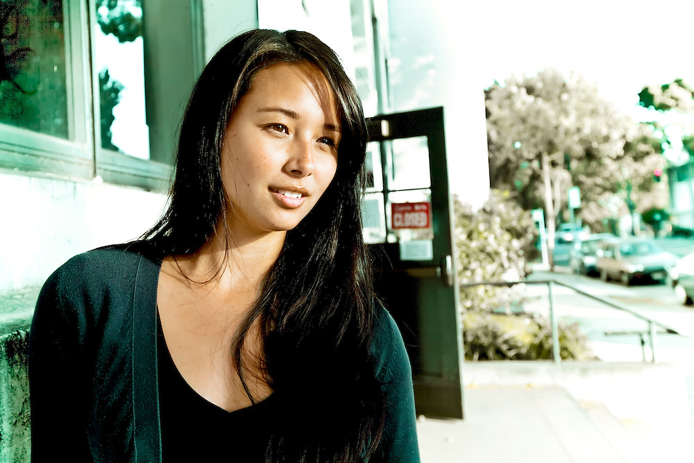 Model/host Aja Dang outside studio in Berkeley, CA.  Copyright 2009 Reid McNally.