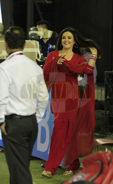 Kings XI Punjab owner Preity Zinta  during match 3 of the Vivo Indian Premier League ( IPL ) 2016 between the Kings XI Punjab and the Gujarat Lions held at the IS Bindra Stadium, Mohali, India on the 11th April 2016<br /> <br /> Photo by Arjun Singh/ IPL/ SPORTZPICS