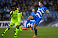 Fotball , 16. mars 2017 ,   Sander Berge midfielder of KRC Genk battles for the ball with Simon Moses forward of KAA Gent during the Europa League Round of 16 2nd leg game between KRC Genk and KAA Gent on March 16, 2017 in Genk,, 16/03/2017 <br /> <br /> Norway only