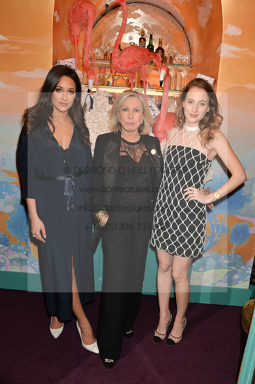 Left to right, ROXIE NAFOUSI, JANE WINKWORTH and ROSIE FORTESCUE at a party to celebrate Alice Naylor-Leyland's Collaboration with French Sole held at Annabel's, 44 Berkeley Square, London on February 2nd 2016