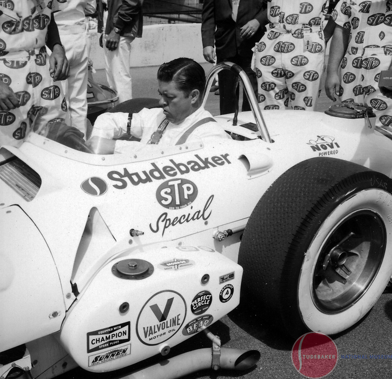Driver Jimmy McElreath sits in the Novi V8 powered #28 Studebaker-STP Special at the 1964 Indianapolis 500.