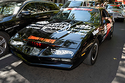 © Licensed to London News Pictures. 05/08/2018. LONDON, UK. David Hasselhoff, actor, in his KITT Knightrider car, sets off from the start.  Gumball 3000, a charity rally for supercars and more, including celebrity entrants, begins in Covent Garden with 150 participants beginning their journey from London to Tokyo.  Photo credit: Stephen Chung/LNP