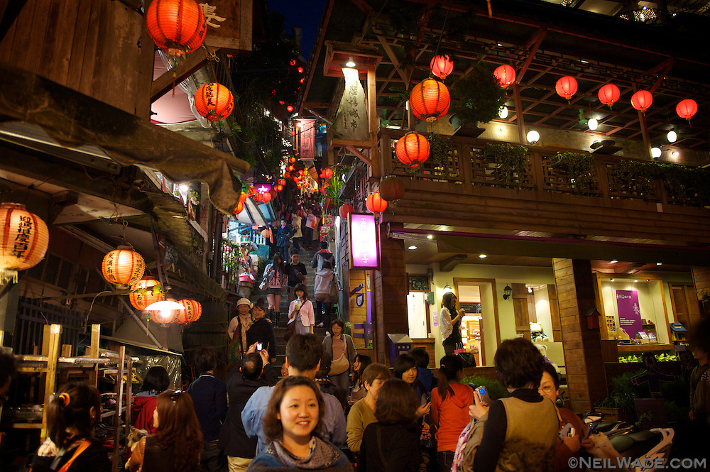 A staircase leads through some old Japanese tea houses, up to the Jiufen Old Street in Jeoufen, Taiwan.