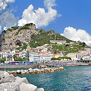 Amalfi, panoramic photo of the sea and mountains from the dock