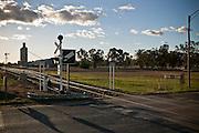 Rail Crossing and Wheat Silos, Western NSW, Australia