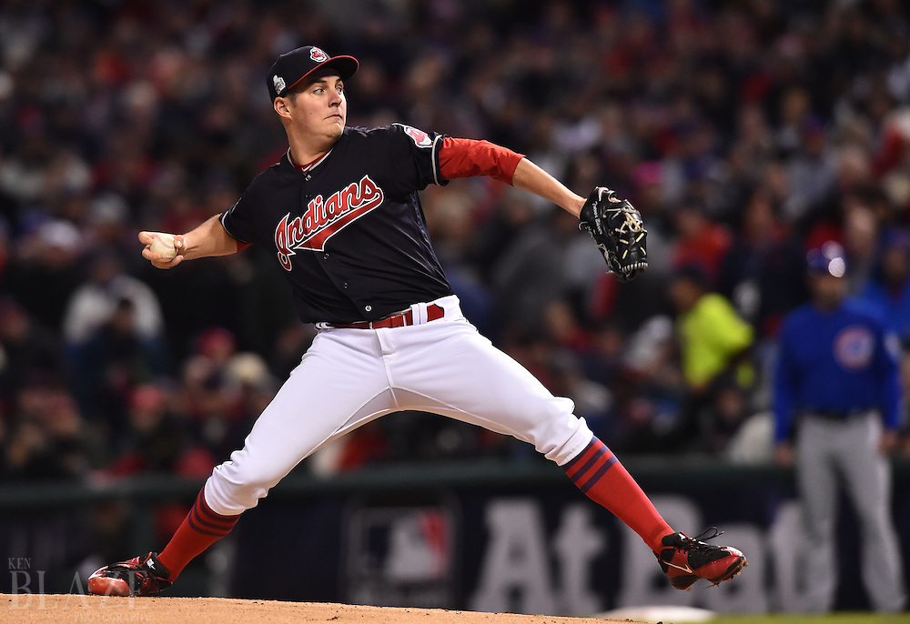 Oct 26, 2016; Cleveland, OH, USA; Cleveland Indians starting pitcher Trevor Bauer throws a pitch against the Chicago Cubs in the first inning in game two of the 2016 World Series at Progressive Field. Mandatory Credit: Ken Blaze-USA TODAY Sports