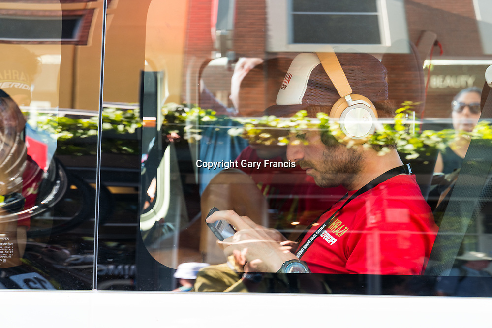 Bahrain Merida rider rests in the cool of the bus before the start of Stage 4, Norwood to Uraidla, of the Tour Down Under, Australia on the 19 of January 2018 ( Credit Image: © Gary Francis / ZUMA WIRE SERVICE )
