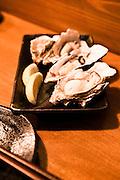 Fresh oysters at Daiyasu. Nishiki Market, Kyoto