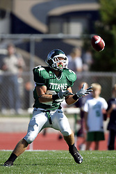 04 October 2008: Robert Beauchamp receives the opening kick off in a battle between the Carthage Red Men and the Illinois Wesleyan University Titans, .Game action was at Wilder Field on the campus of Illinois Wesleyan University in Bloomington Illinois.