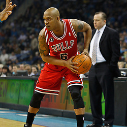 February 12, 2011; New Orleans, LA, USA; Chicago Bulls shooting guard Keith Bogans (6) against the New Orleans Hornets during the first quarter at the New Orleans Arena.   Mandatory Credit: Derick E. Hingle