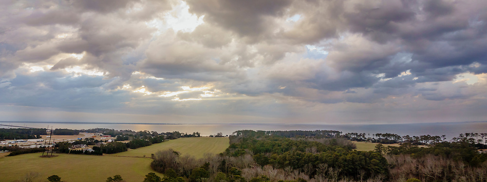 Aerial panorama of Point Harbor at sunrise on the Outer Banks.