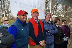 L-R:  Mayor Michael Nutter.  With a ceremonial singing of the lease Philadelphia Outward Bound School and Audubon Pennsylvania kick of the Discovery Center project in the East Fairmount Park section of the city. (Bas Slabbers/for Philadelphia Outward Bound School)
