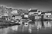 Reflection of village in  in Bonavista Bay, Salvage, Newfoundland & Labrador, Canada
