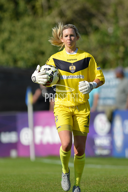 Notts County Ladies goalkeeper Carly Telford during the FA Women's Super League match between Chelsea Ladies FC and Notts County Ladies FC at Staines Town FC, Staines, United Kingdom on 6 September 2015. Photo by Mark Davies.