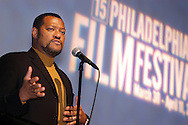 "PHILADELPHIA - MARCH 30:  Laurence Fishburne introduces his new film ""Akeelah and the Bee"" at the opening of the 2006 Philadelphia Film Festival March 30, 2006 in Philadelphia, Pennsylvania. The festival runs through April 11, 2006. (Photo by William Thomas Cain/Getty Images)"