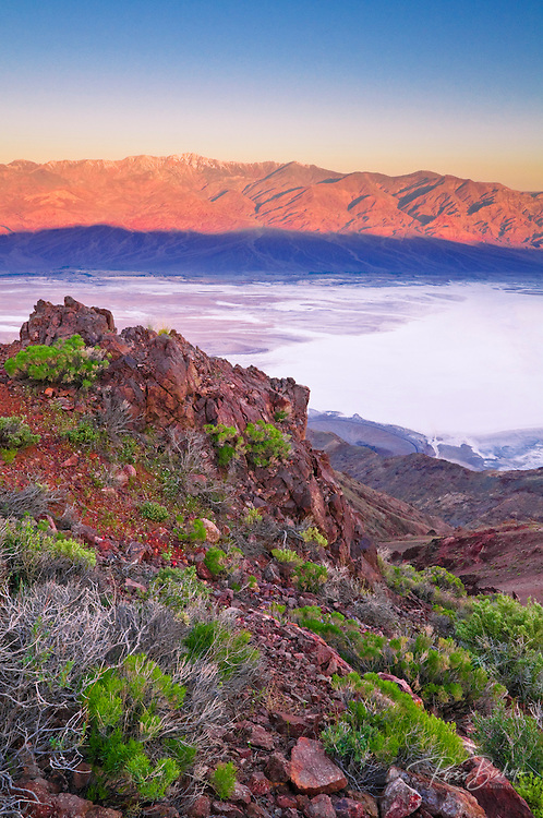 Dawn light over Death Valley from Dante's View, Death Valley National Park. California
