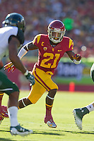 01 September 2012: Cornerback (21) Nickell Robey of the USC Trojans in coverage against the Hawaii Warriors during the first half of USC's  49-10 victory over Hawaii at the Los Angeles Memorial Coliseum in Los Angeles, CA.