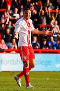 Darius Charles of Stevenage celebrates scoring his team's second goal to make it 2-0 during the Sky Bet League 1 match at the Lamex Stadium, Stevenage<br /> Picture by David Horn/Focus Images Ltd +44 7545 970036<br /> 08/03/2014