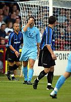 Photograph: Scott Heavey.<br />Stevenage Borough V Tottenham Hotspur. Pre-season friendly. 16/07/2003.<br />Jamie Redknapp misses a golden opportunity.