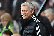 Manchester United manager Jose Mourinho smiles during the Premier League match between Bournemouth and Manchester United at the Vitality Stadium, Bournemouth, England on 18 April 2018. Picture by Graham Hunt.