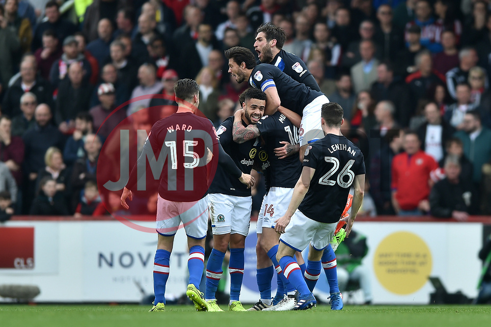Blackburn Rovers players celebrate a first half goal from Danny Guthrie - Mandatory by-line: Patrick Khachfe/JMP - 07/05/2017 - FOOTBALL - Griffin Park - London, England - Brentford v Blackburn Rovers - Sky Bet Championship