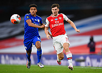 Football - 2019 / 2020 Premier League - Arsenal vs. Leicester City<br /> <br /> Arsenal's Kieran Tierney battles for possession with Leicester City's James Justin, at the Emirates Stadium.<br /> <br /> COLORSPORT/ASHLEY WESTERN