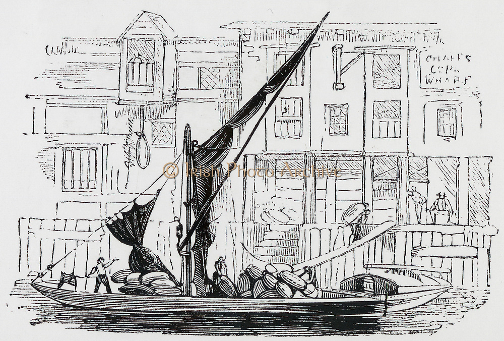 Corn barge on the River Thames, London, England, early 19th century.