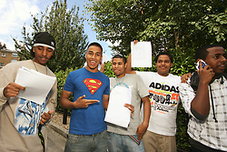 Students at City and Islington College with their A level results London UK