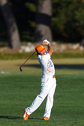 Feb 8, 2012; Pebble Beach CA, USA;  Rickie Fowler hits a shot on the second hole during the practice round of the AT&T Pebble Beach Pro-Am at Pebble Beach Golf Links. Mandatory Credit: Jason O. Watson-US PRESSWIRE