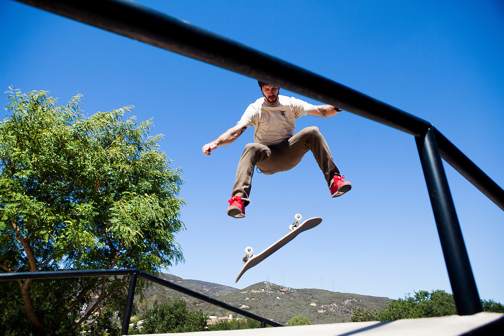 Professional skateboarder Chris Cole trains in a skate park in his backyard on Wednesday, Aug. 21, 2013, in Escondido, California, U.S.