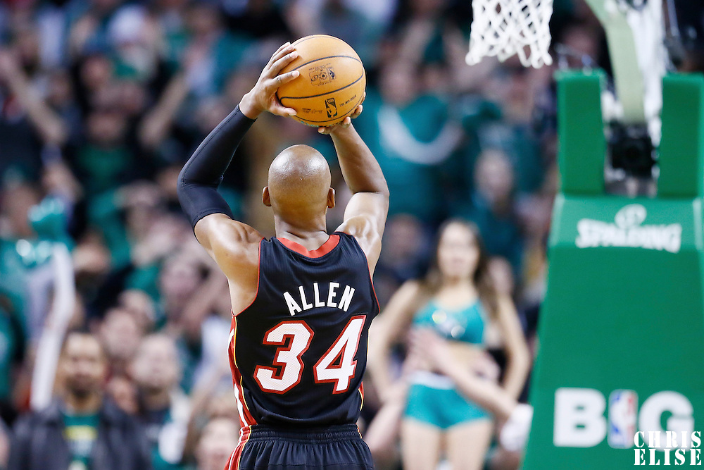 27 January 2013: Miami Heat shooting guard Ray Allen (34) is seen at the free throw line during the Boston Celtics 100-98  2OT victory over the Miami Heat at the TD Garden, Boston, Massachusetts, USA.
