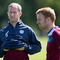 St Johnstone Training...07.08.15<br /> Frazer Wright pictured in training today with Liam Craig<br /> Picture by Graeme Hart.<br /> Copyright Perthshire Picture Agency<br /> Tel: 01738 623350  Mobile: 07990 594431