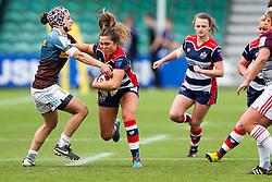Sydney Gregson of Bristol Ladies is challenged by Michela Sillari of Aylesford Bulls - Rogan Thomson/JMP - 23/04/2017 - RUGBY UNION - Sixways Stadium - Worcester, England - Bristol Ladies Rugby v Aylesford Bulls - Women's Premiership Final.