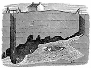 Sectional view of Dream Lead Mine, near Wirksworth, Derbyshire, showing workings and the position in which the  skeleton of a rhinoceros was discovered. Wood engraving 1881.