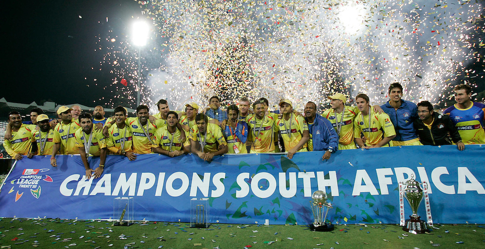 Superkings players celebrates during the Final of the Airtel Champions League T20 held between the Chennai Superkings and the Warriors at Wanderers Stadium in Johannesburg on the 26th September 2010..Photo by Abbey Sebetha/SPORTZPICS/CLT20