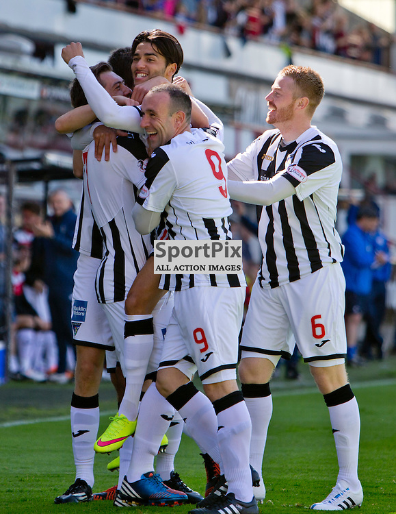 Dunfermline Athletic v Cowdenbeath SPFL League One Season 2015/16 East End Park 15 August 2015<br /> Faissal El Bakhtaoui  is mobbed by his team mates after opening the scoring<br /> CRAIG BROWN | sportPix.org.uk
