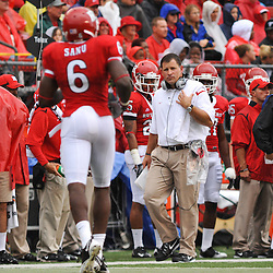 Sep 12, 2009; Piscataway, NJ, USA; Rutgers head coach Greg Schiano waits to talk to Rutgers wide receiver Mohamed Sanu (6) after a play during the first half of Rutgers' 45-7 victory over Howard in NCAA College Football at Rutgers Stadium.