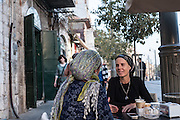 Women having coffee on Jaffa St just outside the Mea Sharim neighborhood in Jerusalem
