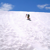 Climbing Gypsum Sand Dunes at White Sands National Monument, New Mexico<br />