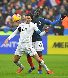 Uruguay's Edinson Cavani and France's Ferland Mendy during France v Uruguay friendly football match at the Stade de France in Saint-Denis, suburb of Paris, France on November 20, 2018. France won 1-0. Photo by Christian Liewig/ABACAPRESS.COM